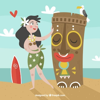 Totem tiki sonriente y bailarina hawaiana
