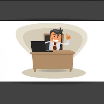 Trabajador con su ordenador