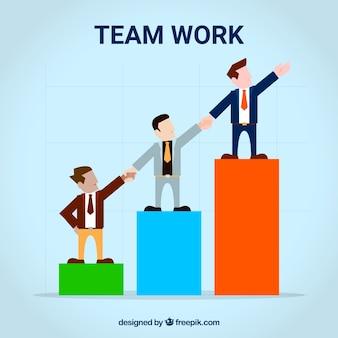 Trabajo en equipo con hombres de negocios y gráfico