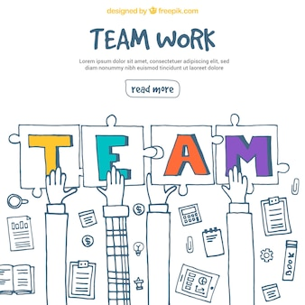 Trabajo en equipo con manos y piezas de puzle