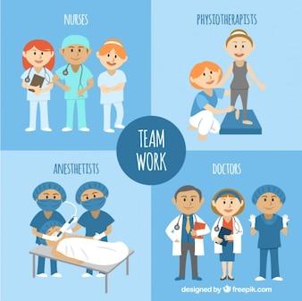 Trabajo en equipo médico ilustrado