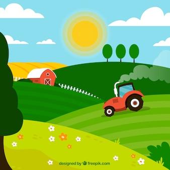 Tractor en el paisaje de granja