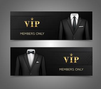 Traje de hombre de negocios vip tarjetas horizontal banners