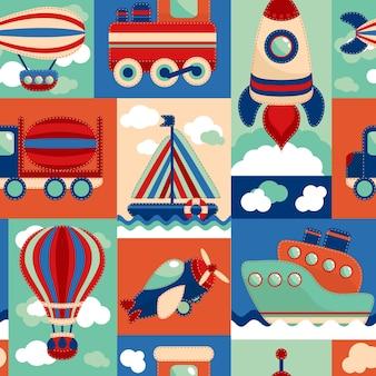Transporte de juguete patrón de dibujos animados sin fisuras con aerostato de avión vela yate ilustración vectorial