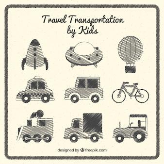 Transportes de viaje por niños