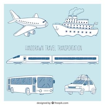 Transportes para viajar dibujados a mano