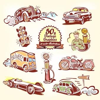 Transportes vintage dibujados a mano