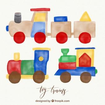 Trenes de juguete de acuarela