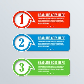Tres banners coloridos
