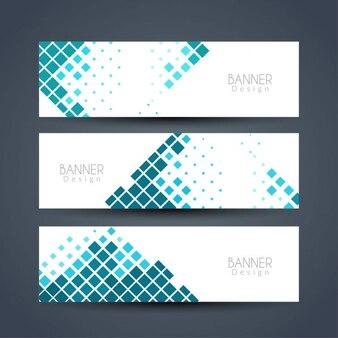 Tres banners con cuadrados azules