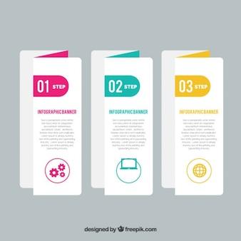 Tres banners de papel para infografía