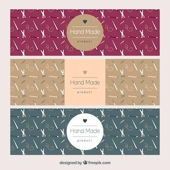 Tres banners elegantes sobre artesanía
