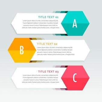 Tres banners geométricos blancos para infografías