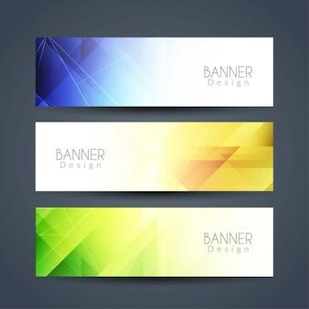Tres banners geométricos con diferentes colores
