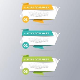 Tres banners origami para infografías
