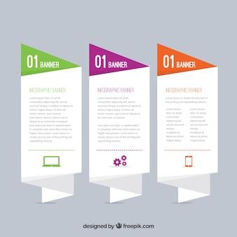 Tres banners para infografías