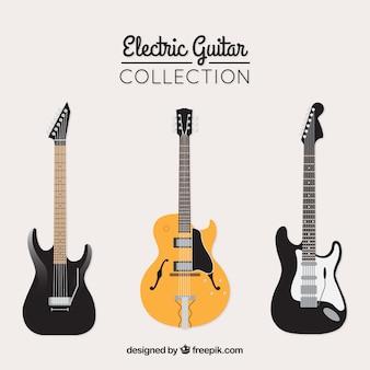 Tres guitarras eléctricas planas fantásticas