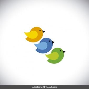 Tres pájaros de colores