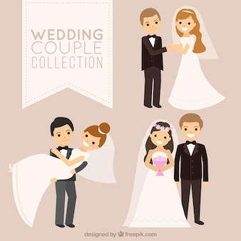 Tres parejas de recién casados sonrientes