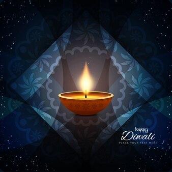 Tres velas para diwali sobre un fondo azul con ornamentos