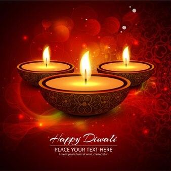 Tres velas sobre un fondo luminoso para diwali