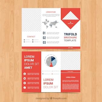 Tríptico de negocios abstracto con gráficas