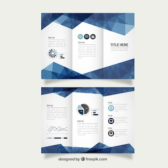 Tríptico de negocios azul geométrico