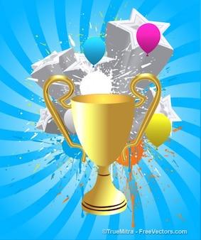 Trofeo de oro sobre fondo azul