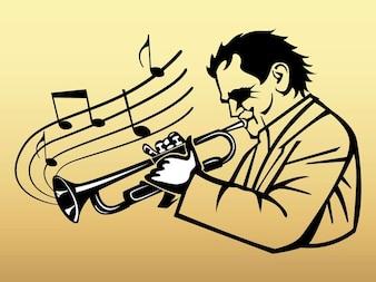 Trompeta clásica vector jugador de dibujos animados