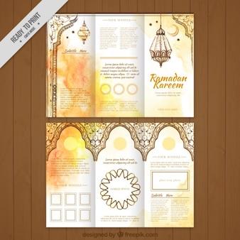 Tríptico de ramadan dorado de acuarela