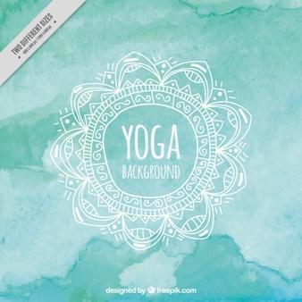 Turquesa fondo de la acuarela de la yoga