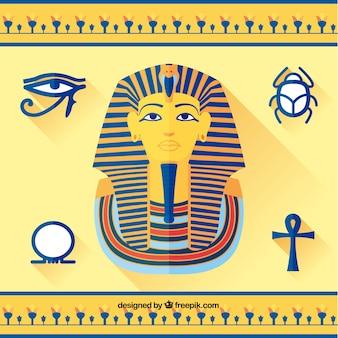 Tutankamón y elementos egipcios