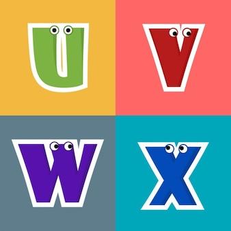 U, v, w, x, letras divertidas