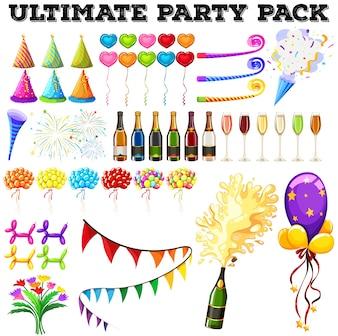 Último paquete de fiesta con muchos adornos ilustración