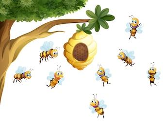 Un árbol con una colmena rodeado de abejas