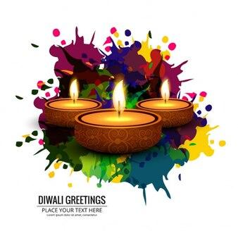 Un bonito fondo con manchas de pintura para diwali