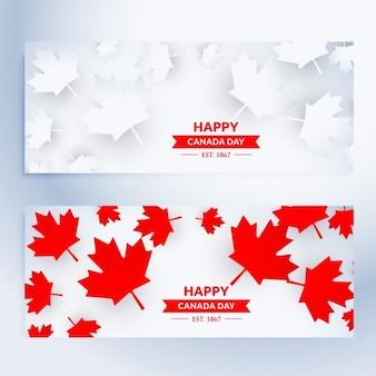 Un conjunto de banners feliz del día de canadá