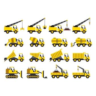 Un conjunto de iconos de vehículos de construcción en estilo plano