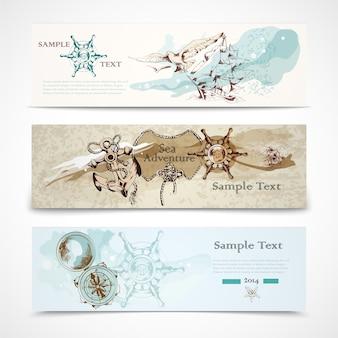 Un conjunto de tres antiguos elementos de diseño náutico horizontal informativo banners publicitarios ilustración vectorial