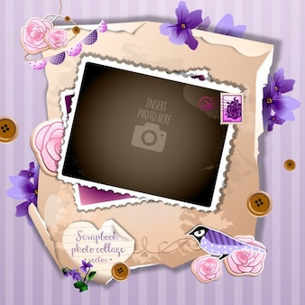 Un marco romántico sobre un fondo violeta