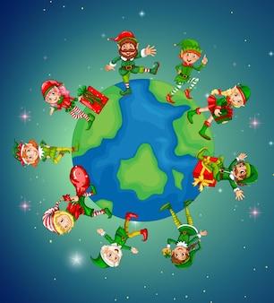 Un montón de elfos en la tierra para la noche de Navidad