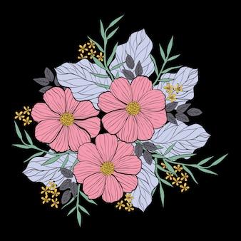 Una ilustración de ramo de flores en el estilo de línea y el dibujo de la mano