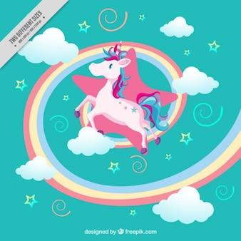 Unicornio en un mundo de fantasía