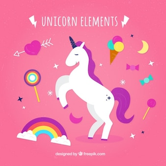Unicornio estiloso con elementos dulces