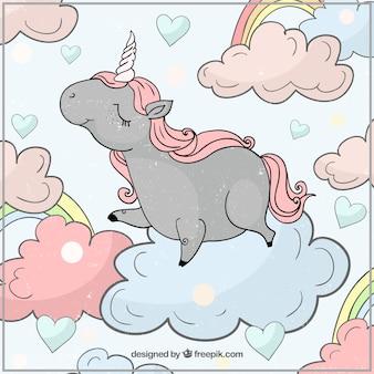 Unicornio ilustrado en estilo lindo