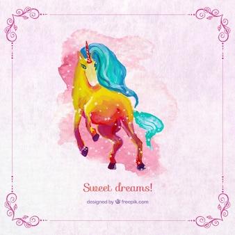 Unicornio pintado a mano