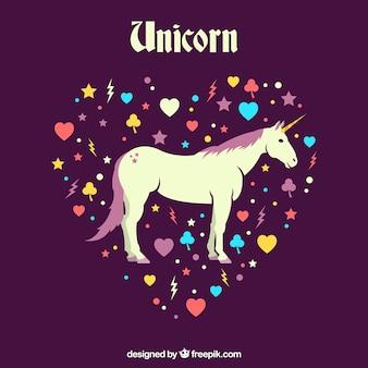 Unicornio y corazones con diseño plano