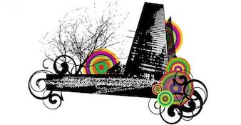 Urbano de la ciudad con el ornamento remolino