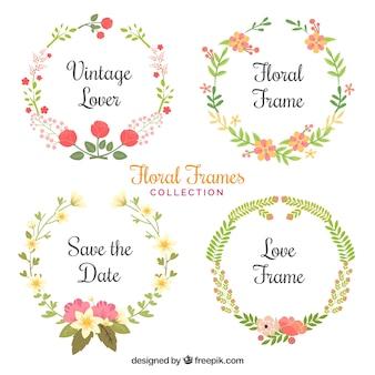 Útil colección de marcos de flores pintados con acuarelas