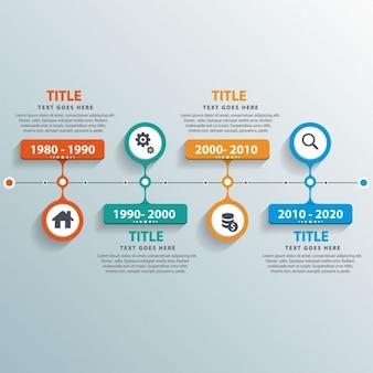 útil timeline con coloridas opciones